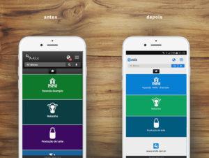 Redefinição da paleta de cores da interface do app 4milk